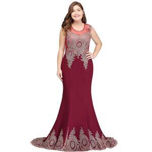 Babyonlinewholesale HOPE   Mermaid Appliques Crew Floor Length Sleeveless Burgundy Plus Size Evening Dresses