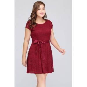 Babyonlinewholesale JALIYAH   A-Line Scoop Short Short Sleeves Lace Burgundy Plus size homecomingDresses with Bow