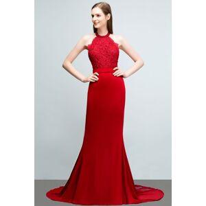 Babyonlinewholesale JOY   Mermaid Halter Floor Length Appliqued Beads Red Prom Dresses with Sash