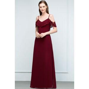 Babyonlinewholesale JULIANA   A-line Spaghetti Off-shoulder V-neck Long Chiffon Prom Dresses