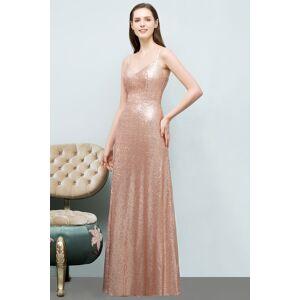 Babyonlinewholesale JOSLYN   A-line Floor Length V-neck Spaghetti Sequined Prom Dresses