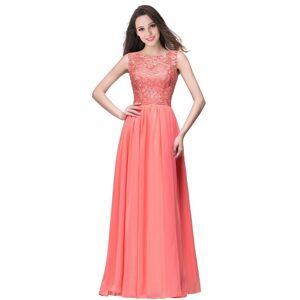 Babyonlinewholesale ELYSE   A-line Sleeveless Crew Floor-length Lace Top Chiffon Prom Dresses