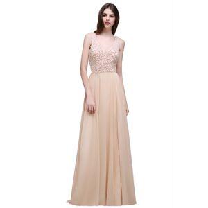 Babyonlinewholesale ALANA   Sheath Sheer Chiffon Long Evening Dresses With Pearls