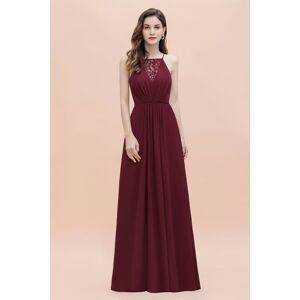 Babyonlinewholesale Straps Bateau A-line Sequins Evening Maxi Dress Elegant Chiffon Prom Dress