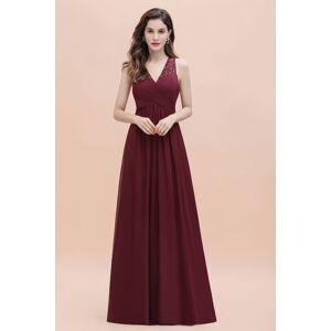Babyonlinewholesale V-Neck A-line Chiffon Evening Maxi Dress Sleeveless Bridesmaid Wedding Guest Dress