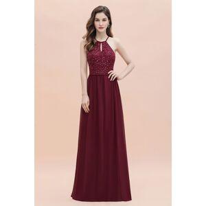 Babyonlinewholesale Halter Sequins A-line Evening Dress Chiffon Elegant Party Maxi Dress