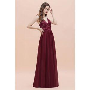Babyonlinewholesale V-Neck Straps A-line Bridesmaid Dress Sequins Evening Dress