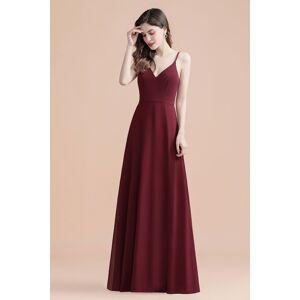 Babyonlinewholesale Elegant V-Neck Chiffon Evening Prom Dress for Women Straps Formal Maxi Dress