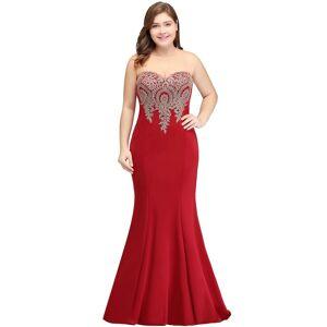 Babyonlinewholesale INGRID   Mermaid Crew Illusion Long Sleeveless Burgundy Plus size Formal Dresses with Appliques