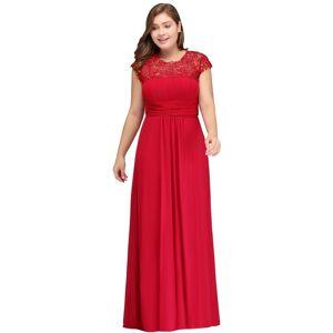 Babyonlinewholesale IMANI   A-Line Crew Floor length Cap sleeves Lace Chiffon Plus size bridesmaid Dresses with Appliques
