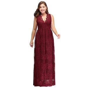 Babyonlinewholesale JADE   A-Line V-neck Floor Length Sleeveless Lace Burgundy Plus size bridesmaid Dresses