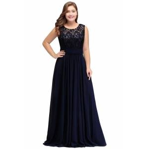 Babyonlinewholesale IVY   A-Line Crew Long Sleeveless Dark Navy Plus size bridesmaid Dresses with Lace