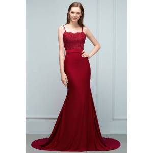 Babyonlinewholesale VALERY   Mermaid Spaghetti Sweetheart Long Burgundy Appliques Prom Dresses with Beads