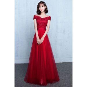 Babyonlinewholesale Tulle Lace Elegant Off Shoulder A-Line Evening Dresses