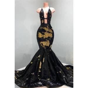 Babyonlinewholesale Sexy Hollow Neckline Gold and Black Long Train Mermaid Evening Dresses