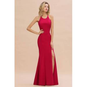 Babyonlinewholesale Sexy Halter Mermaid Evening Maxi Gown Side Slit Party Dress