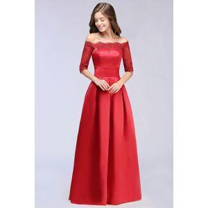 Babyonlinewholesale ELLISON   A-line Half Sleeve Floor-length Off-shoulder Appliques Prom Dresses