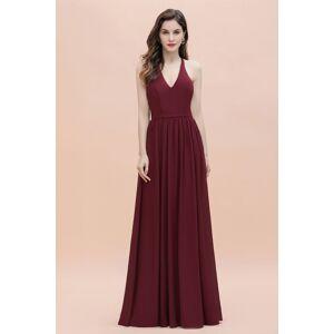 Babyonlinewholesale Burgundy Sleeveless V-neck Beaded Back Chiffon Bridesmaid Dress