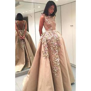 Babyonlinewholesale Champange Sleeveless Puffy Prom Dresses with Butterflies Flowers   Appliques V-Back Evening Dresses