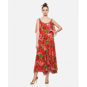Richard Quinn Dress With Rose Print - Red - female - Size: 10