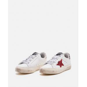 Golden Goose May star red glit sneakers - White - female - Size: 36