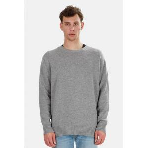 The Tile Club Men's The Tile Club Oversized Cashmere Sweater in Grey, Size Medium