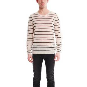 Acne Men's Acne Colt Pullover Stripe Sweater in Off White, Size Large