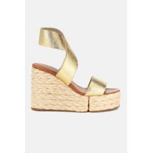 Clergerie Women's Clergerie Aurore Wedge Sandals Shoes in Gold, Size 37