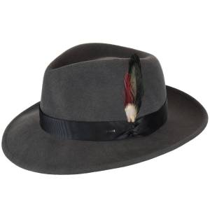 Bailey of Hollywood Metrick LiteFelt® Fedora  - Charcoal - Size: L