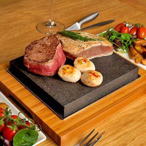 "SteakStones The SteakStones Sizzling Steak Plate, Size Bamboo 11x10"", Lava 8x7"""