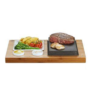 "SteakStones The SteakStones Steak + Sides + Sauces Set, Size Bamboo 13x10"", Lava 8x5"", Ceramic Plate 5x5"", Ceramic Bowls x2 - 2"" Diameter"