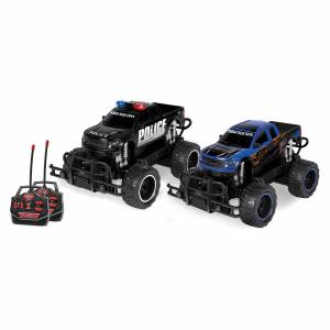 World Tech Toys Ford F-150 SVT Raptor Police Pursuit 1:24 RTR Electric RC Monster Truck Double Pack in Black