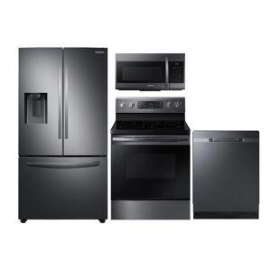 Samsung Large Capacity 3-door Refrigerator + Electric Range + StormWash Dishwasher + Microwave in Black Stainless Steel(BNDL-1598283230552)