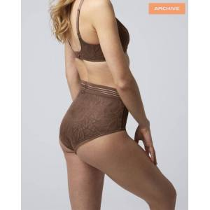 Nudea The Hugger Brief in Invisible Lace - Brown (XXL (UK 18))