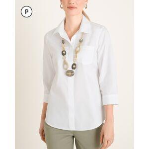 Chico's Women's No-Iron Petite Cotton Stain Shield Pocket-Detail Shirt, Optic White, Size 8P/10P-M
