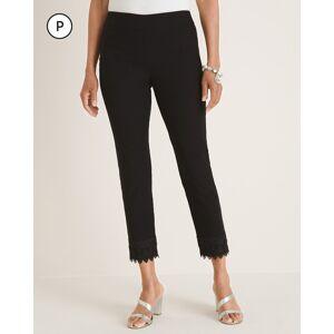 Chico's Women's Petite So Slimming Brigitte Lace-Hem Slim Crops, Black, Size 8P/10P-M