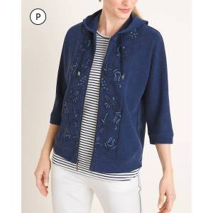 Chico's Women's Zenergy Petite Embroidered Indigo Jacket, Indigo Wash, Size 8P/10P-M