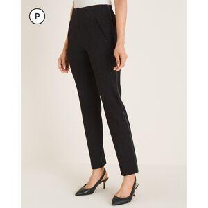 Chico's Women's Petite So Slimming Juliet Leopard-Print Faux-Leather Trim Ankle Pants, Black, Size 10P-M