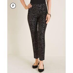 Chico's Women's So Slimming Petite Juliet Scroll-Print Ankle Pants, Black/Silver, Size 10P-M