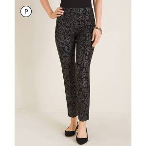 Chico's Women's So Slimming Petite Juliet Scroll-Print Ankle Pants, Black/Silver, Size 10P-M