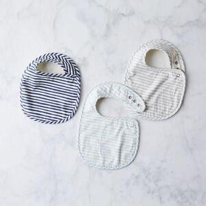 pehr Cotton Baby Bib Set - Sea, Ink, Pebble