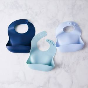 Bibito  Modern Silicone Baby Bib - Set of 3 (Save $4!), Soft Blues