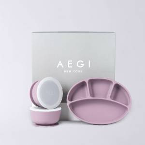 Aegi New York Kids' Divided Dinner Plates and Bowls with Suction - Silicone Suction Gift Set, Plum