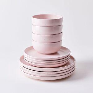 Casafina Modern Classic Ceramic Dinnerware - Blush, 12-Piece Set with Soup Bowl
