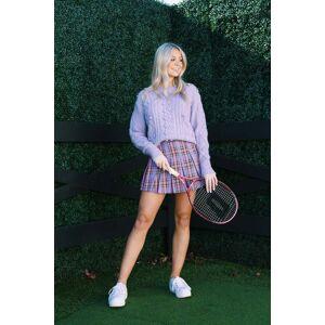 m.n.i. Marlie Plaid Pleated Skater Skirt Lavender  - Lavender - Size: Medium