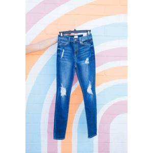 Sneak Peek Call You Up High Rise Distressed Skinny Jeans Medium Vintage  - Medium Vintage - Size: 7