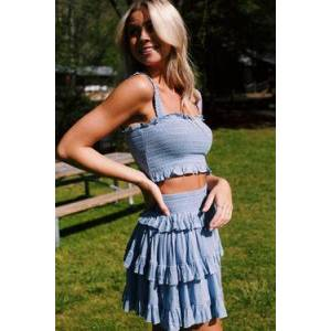 Papermoon Melany Smocked Crop Top Blue  - Blue - Size: Medium