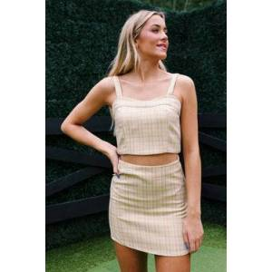 Crescent Everett Plaid Mini Skirt Sand  - White - Size: Large