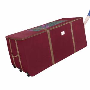 Elf Stor Rolling Christmas Tree Storage Duffel Bag w Window for 12 Ft Tree 60 X 25 In