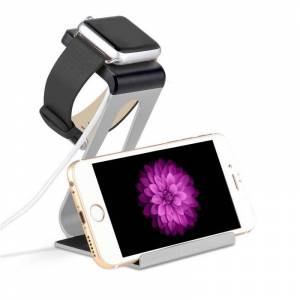 Vista Shops Dual Charging Stand for Apple iWatch and iPhone - BLACK